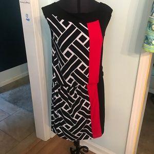 Black White Red Striped WHBM Dress Size 6